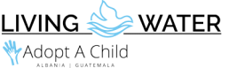 Living Water Adopt-a-Child Logo - musta ja sininen